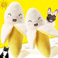 peluche perro amarillo al por mayor-Amarillo plátano fruta juguete de peluche de juguete de sonido suministros lindo juguete connotación BB mascota perro gato al por mayor