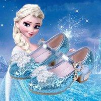 zapatos de lentejuelas para niñas al por mayor-Chicas congeladas entresuela sandalias Snow Queen PU zapatos de las sandalias de las muchachas del niño de la decoración del arco de la perla de lentejuelas Luna pendiente del Rhinestone Princess 04
