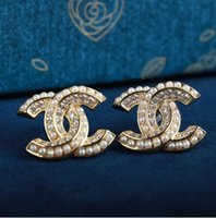 Wholesale earring pearl letter for sale - Group buy Fashion Designer Stud Earrings for Women Jewelry with Crystal Diamond Pearl Letter Design Earrings for Party Wedding Gift