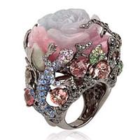 ingrosso albero di cristallo in rilievo-Vintage Black Tungsten Ring Peony Rose Fiore Albero Vite Lucertola Gioielli fatti a mano Resina di cristallo in rilievo Arcobaleno Anello Z5X878