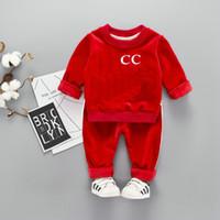 kaliteli bebek kızı elbiseleri toptan satış-Tasarımcı üst marka En çok satan Stokta SICAK 1-4 yaşında BEBEK ERKEK KIZ elbise + pantolon kaliteli koko