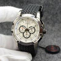 простые черные мужские часы оптовых-Простые и элегантные мужские наручные часы 45,5 мм Кварцевый хронограф сверхбыстрый белый циферблат черный резиновый ремешок мужские часы