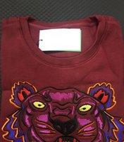 ingrosso magliette felpate felpe al collo-Ricamo testa di tigre maglione uomo donna di alta qualità manica lunga O-collo pullover Felpe con cappuccio maglione migliore qualità Maroon S-XXL