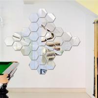 ingrosso pezzi decorativi casa-7 pezzi Hexagon Acrilico specchio Wall Stickers fai da te Art Wall Decor Wall Stickers Home Decor Living Room a specchio decorativo Sticker wn628
