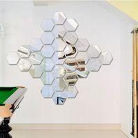 ingrosso disegni materiali cinesi-nuova Marki 7pc Hexagon acrilico specchio parete autoadesivi DIY Art Decor Wall Wall Stickers Home Decor Soggiorno specchio adesivo decorativo wn628