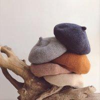 chapéu de boina bebê tricô venda por atacado-Estilo coreano Outono Inverno Pure cor crianças malha Beret Hat Meninos Bebés Meninas Caps lã quente