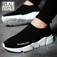 súper calcetines al por mayor-2019 POLALI Marca Verano Hombre Calcetines Zapatillas Beathable Malla Calzado casual para hombres Zapatos sin cordones Mocasines Calcetines súper ligeros Zapatillas deportivas