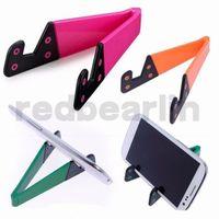suporte de telefone celular design venda por atacado-500 pcs colorido Mini Dobrável Multifuncional Suporte Do Telefone Forma V Suporte de Design para o telefone Celular Tablet PC ipad todos os Suportes