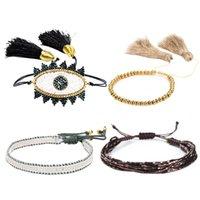 braune manschetten großhandel-Evil Eye Miyuki Armband Schmuck Gold Perlen Manschette Braun Armbänder Frauen