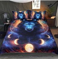lobo conjuntos de fundas nórdicas al por mayor-Impresión en 3D Wolf in the Sun 2/3 Pcs Juego de cama Funda nórdica de animales con funda de almohada