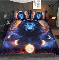 ingrosso federa di lupo-Stampa 3D Wolf in the Sun Set biancheria da letto 2/3 pezzi Animali Copripiumino con federa