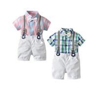 yazlık elbiseler satın al toptan satış-Yaz Erkek Takım Elbise Kafes Papyon Elbise Takım Elbise Kısa Kollu Bodysuits 4-piece Hediye Seti Şort Askı Pantolon Satın Onun için Bebek Satın Al