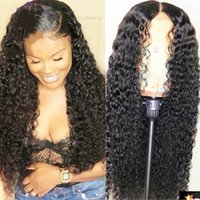 Wholesale high quality long wig resale online - High Quality Glueless Lace Front Wigs b Black Long Curly Wigs for Black Women Natural Looking Kinky Curly Synthetic Wigs with Baby Hair