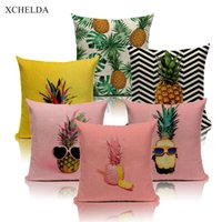 Wholesale pink car cover seats resale online - Nordic Pink Tropical Pineapple Linen Cushion Cover Interesting Things Throw Pillowcase Sofa Car Seat Home Decoration Pillow Case