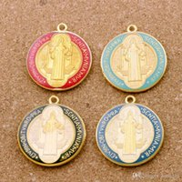 Wholesale medal pendant for sale - Group buy 20pcs Enamel Benedict Medal Cross Crucifix Smqlivb Beads x49 mm Pendants Handmade Jewelry DIY color