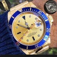 homens relógios de ouro verde venda por atacado-16 cores de luxo relógio de diamantes e dia data verde moldura de cerâmica preta de discagem 40mm 2813 de aço inoxidável automático ou pulseira de borracha homens relógio