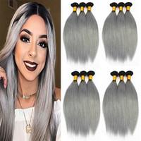 ingrosso virgin hair gray color-1B / Grigio estensioni dei capelli lisci 3 o 4 fasci brasiliani indiani peruviani 100% vergini dei capelli umani tesse colore bicolore Ombre 10-18 pollici