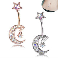 Wholesale new tongue piercing for sale - Group buy urope and the United States navel ring body piercing jewelry new moon stars allergy navel buckle navel nail and drop shipping