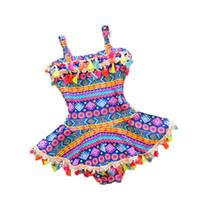 swimwear kid coreano venda por atacado-2-8y Bebê Menina Swimwear Uma Peça de Natação Terno de Impressão de Verão Estilo Coreano Crianças Maiô Crianças Trajes de Banho Meninas Vestido de Praia Y19062801