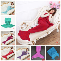 Wholesale adult mermaid tail blanket for sale - Group buy Mermaid Tail Blanket For Kid Adult Warm Fish Tail Blankets Women Sleeping Bag Bedding Winter Soft Pashmina Knitted Sofa Blanket DBC VT1135