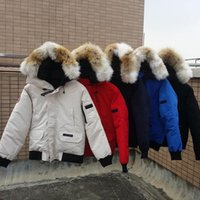 Wholesale long goose down jacket for sale - Group buy 18AW European And American Down Jacket Short Outdoor Wolf Hair Big Goose Down Jacket Men And Women High Quality Jacket HFBYYRF010