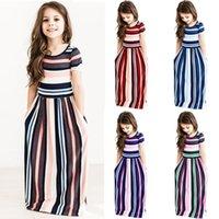 renkli bohem elbiseler toptan satış-Kızlar Çizgili Elbiseler Yaz Kısa Kollu Renkli Prenses Elbise Bohemian Plaj Tunik Maxi Elbiseler Çocuk Giyim AAA1984