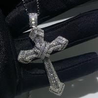 mücevherat haçları toptan satış-Yeni Choucong Lüks Takı 925 Ayar Gümüş Açacağı Beyaz Topaz CZ Elmas Taşlar Çapraz Kolye Düğün Kadın Kolye Erkekler için hediye