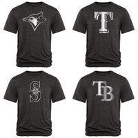 paquete de ropa al por mayor-Mariners Blue Jays Bay Rays Rangers Fan Apparel Colección Platino Tri-Blend Camiseta Paquete de alta calidad negro