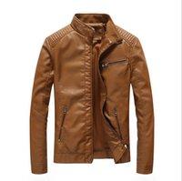 vestes pu europe achat en gros de-Nouvelle automne printemps hommes standard Europe USA Taille veste en cuir veste en cuir noir biker veste Rock n roll Jacket for Man