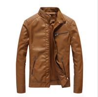 rulo sallamak toptan satış-Yeni sonbahar bahar erkek standart Avrupa ABD Boyutu deri ceket siyah deri biker ceket Adam için Rock n roll Ceket