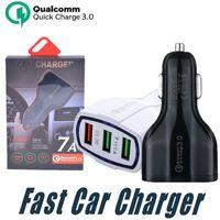 cabo de carregamento duplo venda por atacado-Carregador de carro de Carga Rápida 3.0 QC 3.0 Adaptador de Carregamento Rápido Dual USB Carregador de Carro de Viagem Plugue do cabo usb cabo para samsung carro do telefone móvel