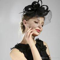 acessórios de chapéu de véu preto venda por atacado-2019 Dinner Party Veil baratos Fascinator HatsBanquet Black Hat Feather Tulle Acessórios nupcial Headwear Vendidos