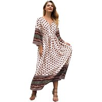 e23c7cc84ca 2019 New Women Boho Style Long Dress Geometric Print V-Neck Elastic Waist  Summer Beach Dress Vintage Evening Club Party Dress