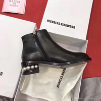 Wholesale best black pearls for sale - Group buy sale casual designer nicholas kirkwood genuine leather best high quality shoes women sneaker women s pearl flat ankle Boot ankle B
