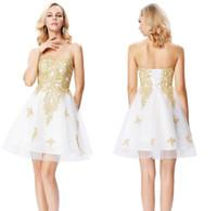 Wholesale sexy coctail dresses resale online - Grace Karin Short White Cocktail Dresses Sweetheart Gold Appliques Formal Prom Dresses Cocktail Jurk Tulle Coctail Dresses HH374