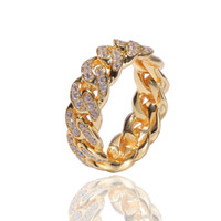 Hip Hop Punk Ring Cuban Link Chain 8mm Zircon-plated Real Gold Trend Men's Ring New