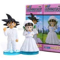 anime figur drachen ball gesetzt großhandel-Anime Dragon Ball Goku Chichi Hochzeit Pvc Action Figure Spielzeug 8 cm Set Von 2 Dbfg040