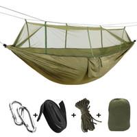 hamacas de tela al por mayor-1-2 persona portátil hamaca para acampar al aire libre con mosquitero tela de paracaídas de alta resistencia colgando de la cama columpios para dormir