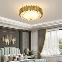 Wholesale romantic bedroom ceiling lights resale online - Modern crystal round ceiling chandelier lights romantic crystal chandeliers lamp glod led ceiling lighting for bedroom foyer