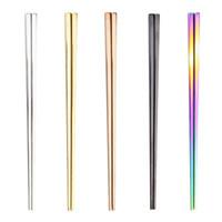vajilla usada al por mayor-El alto grado de oro del metal de cuadrados de color palillos de acero inoxidable 304 color del arco iris Vajilla Fácil de usar al aire libre portátil 3 6QD H1
