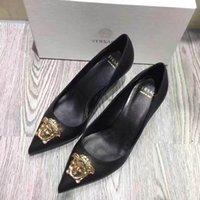 koreanische sexy schuhe großhandel-Neue koreanische Art und Weise wilde spitze rutschfeste hohe Absätze einzelne Schuhe reizvoller bequemer Trendleder-Luxushohe absätze Größe 34-42 Nr.: 24-6966