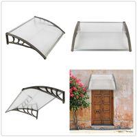 100x80cm Eaves Canopy Sun Rain Shelter Window Awning Front Door Canopy Outdoor Door Window Plastic Bracket ABS Cover Yard Garden US Stock