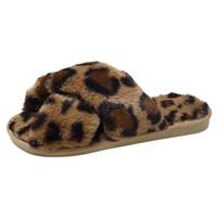 zapatillas antideslizantes al por mayor-Zapatos Algodón Leopardo Mujeres Niñas Zapatilla de invierno Damas Slip-on Piso cálido antideslizante Dormitorio Dormitorio Zapatos Niñas Zapatillas