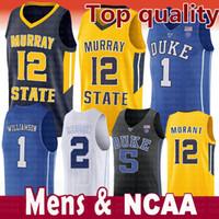 jersey azul royals al por mayor-Jersey NCAA Duke Blue Devils 2019 para hombre 1 Zion Williamson 5 RJ Barrett 2 Rojo rojizo Royal Blue Negro Blanco Colegio Camisetas de baloncesto