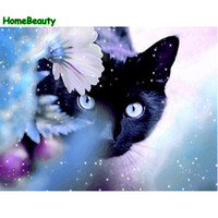 Wholesale wall paintings for drawing room resale online - Picture for living room cat flower painting by numbers acrylic coloring Modular drawing by number wall canvas diy artwork PH9249