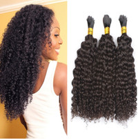 doğal insan kinky kıvırcık saç toptan satış-İşlenmemiş İnsan Saç Örgü Toplu Kinky Kıvırcık Hiçbir Atkı Moğol Saç Toplu Doğal Siyah 3 adetgrup
