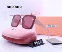 ingrosso modello di vetro quadrato-Womans Designer Occhiali da sole Occhiali da sole di marca Brand Square Adumbral Goggle Occhiali UV400 Modello 8953 5 colori di alta qualità con scatola