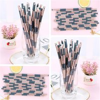 Wholesale disposable papers resale online - American Flag Color Paper Straws Disposable paper Straws Environmentally friendly paper pipette Party juice drink straws T9I0073