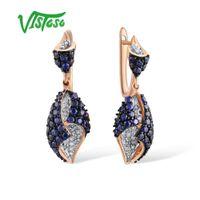 ingrosso oro 14k 585-VISTOSO Orecchini in oro per donna Genuine 14K 585 oro rosa diamante scintillante creato zaffiro splendido orecchini a goccia gioielleria raffinata
