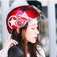 Wholesale red scooter helmet resale online - 1xUnisex Motorcycle Scooter Bicycle Helmet Motocross Cycling Road Bike helmet Open Face halmet Head Protect Casco Capacete moto